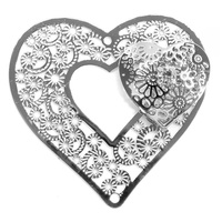 Heart on Heart Filigree Craft Charm