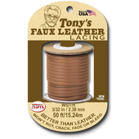 Faux Leather Lacing Cord - Tan 2.38mm x 15.24m