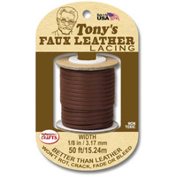 Faux Leather Lacing Cord - Brown 3.17mm x 15.24m