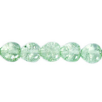 Cracked Glass Heart Beads - Light Peridot Dyed 8mm x 10