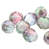 Czech Glass Round Firepolished Beads - Amethyst Aurum 6mm x 25