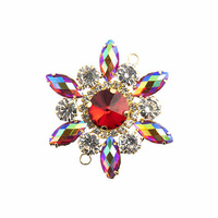 Crystal Motif Flower Connector - Red AB in Gold Casing