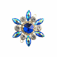 Crystal Motif Flower Connector - Blue AB in Gold Casing