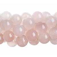 "Semi-Precious Round Beads - Rose Quartz Natural x 6mm 8"" Strand"
