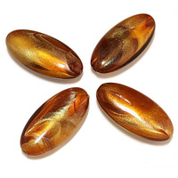 Toffee Glaze Oval Vintage Lucite Bead x 34mm