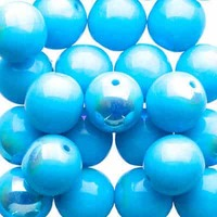 Czech Glass Druk Beads - Opaque Blue Turquoise AB 8mm x 10