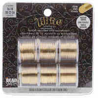 Beadsmith Craft Wire - Tarnish Resistant Gold 6 Pack Assorted Mini Spools