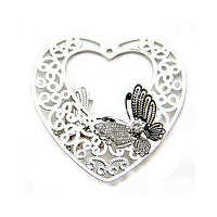 Butterfly Heart Filigree Craft Charm