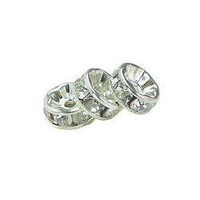 Acrylic Crystal Rhinestone Rondell Spacer Beads - Clear Crystal 8mm x 10