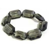 Black Diamond Faceted Puffed Rectangle Large Vintage Lucite Bead x 25mm