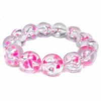 Transparent Hot Pink Large Round Vintage Lucite Bead x 16mm