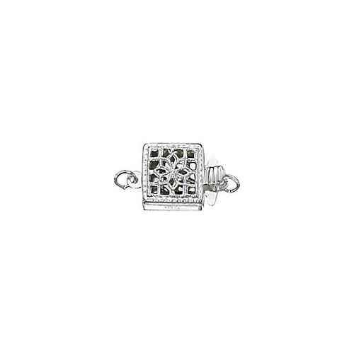 Box Filigree Clasp With Ring - Single Strand Round - Sterling Silver x 11mm