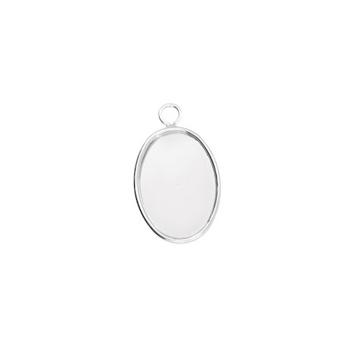Bezel Pendant With Ring - Small Oval - Silver Plated - 18x13mm