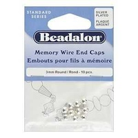 Beadalon Memory Wire End Caps - Silver Plated 3mm x 10