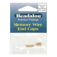 Beadalon Memory Wire End Caps - Gold Plated 3mm x 10