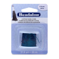 Cotton Tassel Cord By Beadalon - Metallic Blue On Black x 20m