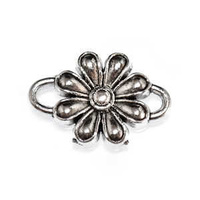 Metal Connector Link - Antique Silver Daisy Flower x 14mm