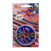 "Stretch Magic Jewellery Cord - Black - 1mm / 0.039"" x 5 Metre Roll"
