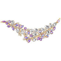 Elegant Chic Crystal Applique Motif - Large Amethyst Ab Gold