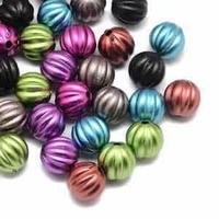 Acrylic Melon Shaped Beads - Matte Rainbow 10mm x 10