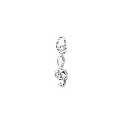 Silver Plated Charm With Jump Ring - Music Small G Clef x 15mm