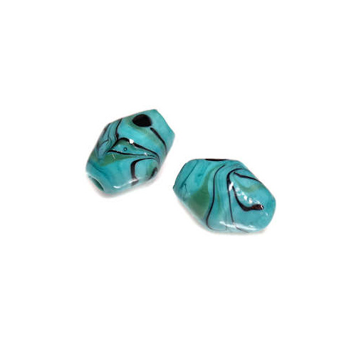 Nocturne Blue Vintage Glass Bead - 9mm x 11mm