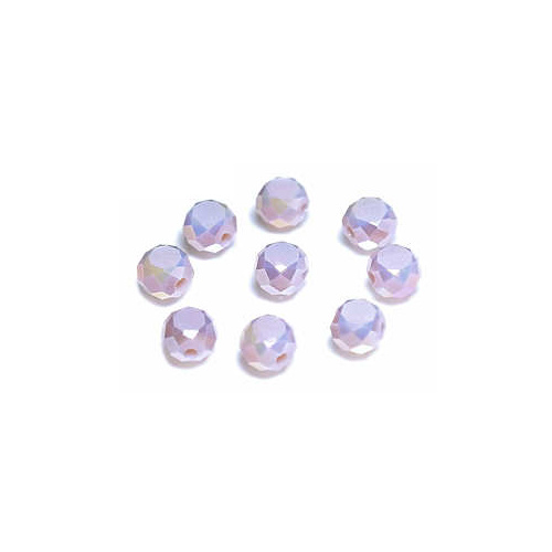 Glass Beads Faceted Coin - Pale Orchid Frost 6mm x 20