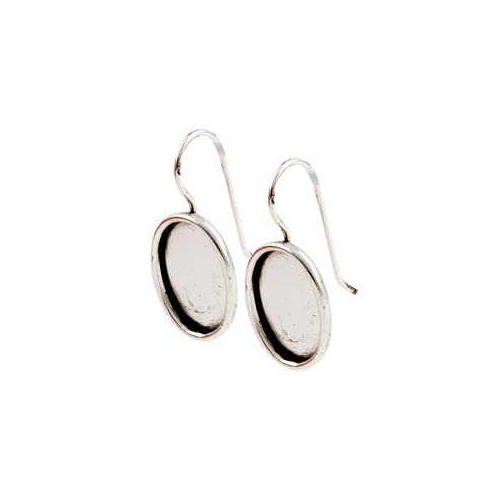Earring ~ Earwire With Bezel Pendant Setting - Oval Antique Silver