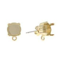 Stud Earring Bases With Bottom Loop - Yellow Gold x 1 Pair
